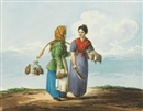 Karl Ivanovich Kollmann, A watercarrier and a washerwoman, Two peasant women in conversation, Two young street vendors and Two young street vendors with brushes and buckets (4 works)