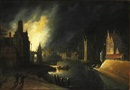 Style Of Egbert Lievensz van der Poel, A fire near a canal in the middle of the night
