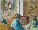 Emile Bressler, Intérieur avec jeune fille à la table (Interior with young girl sitting at a table)