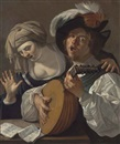Attributed To Dirck van Baburen, A lute player and a singer, a musical score on the table