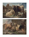 Philipp Peter Roos, A bull, goat, ram and sheepdog before ruins in a rocky landscape (+ A sheep and a goat, with a horseman beyond in a rocky landscape; pair)