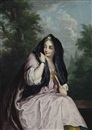 Christian Wilhelm Ernst Dietrich, Portrait of a lady, three-quarter-length, in a pink dress, and a black shawl, a fan in her left hand, seated in a landscape