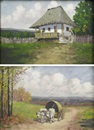 Ion Dobosariu, Peasant House, Cart with Tilt (2 works)