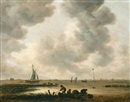 Jan Josefsz van Goyen, The Haarlemmermeer on a cloudy day, with a distant view of the church of Saint Bavo, Haarlem