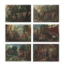 Follower Of Pieter Brueghel the Younger, The Procession of the Bride; The Procession of the Groom; The Wedding Dance; The Wedding Feast; The Wedding Games; and The Blessing of the... (6 works)