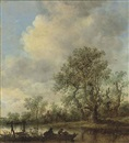 Jan Josefsz van Goyen, A river landscape with fishermen in a rowing boat, a cottage beyond