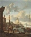 Abraham Jansz Storck, A capriccio of a Mediterranean harbour with a Dutch ship at anchor, a churchyard with a classical column on the embankment...