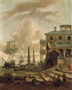 Abraham Jansz Storck, A capriccio of a Mediterranean harbour with stevedores, orientals and elegant figures, with ships beyond