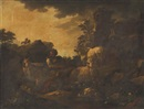 Philipp Peter Roos, An Italianate wooded landscape with a goatherd and his flock in the foreground