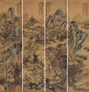 Attributed To Da Chongguang, 四季山水屏 (Landscape) (4 works)