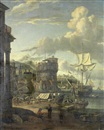 Studio Of Abraham Jansz Storck, A capriccio of a Mediterranean port with figures loading ships