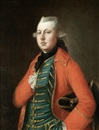 Thomas Gainsborough, Portrait of Mr. Coke of Brookhill Hall, half-length, in a red coat and a blue waistcoat with gold embroidery, a tricorn hat under his arm