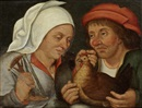 Workshop Of Pieter Brueghel the Younger, Two peasants with a hen and a spindle