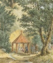 Anonymous-Russian (19), Peasants at a chapel over a stream