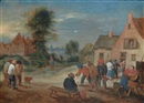 Attributed To Theobald Michau, Scènes de village (pair)
