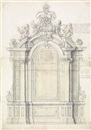 Italian School-Roman (18), Design for an elaborate arched baroque altar, flanked by Corinthian columns and pilasters