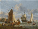 Abraham Jansz Storck, A Dutch harbour with a bezan yacht and a galjoot moored at a quay, a boeier yacht under sail and a man o'war anchored beyond, with figures bathing from a rowing boat
