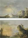 Carlo Bonavia, Sunrise over a harbour with fishermen preparing to embark; Sunset over a harbour with fishermen returning to shore and pulling in their nets (pair)