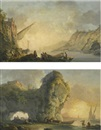 Carlo Bonavia, Sunrise with fishermen launching a boat; Sunset with fishermen unloading boats (pair)