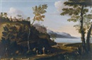 Jan Miel, A wooded landscape with peasants resting on a track, a lake beyond