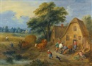 Theobald Michau, A northern landscape with villagers conversing and harvesters returning from the fields, with a farmer and a dog herding two cows