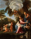 Attributed To Carlo Maratta, Die heilige Familie in hügeliger Landschaft
