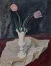 Hans Jüchser, Still life with pink-colored tulips and white cloth