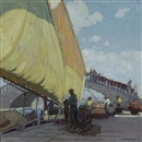 Ernest Martin Hennings, Fishermen mending nets, Port of Vigo, Spain