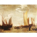 Attributed To Willem van de Velde the Elder, Boats at low tide