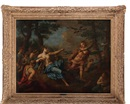 Follower Of Nicolas Poussin, Apollon et les Piérides transformés en pie-grièches