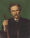 George Frederick Watts, Portrait of Rith Wallace-Dunlop, half-length, in a brown coat, holding a gun