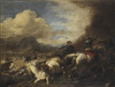 Attributed To Jacques Courtois, A cavalry skirmish in a mountainous landscape