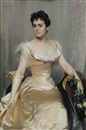 Emile Wauters, An elegant lady in a silk dress