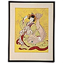 Paul Jacoulet, Ebisu, God of Luck, Personified by a Courtesan of the Shimabara. Kyoto, Japan