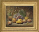 Charles Archer, Grapes, apples, plums, pear and a thistle on a mossy bank