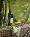 Doris Clare Zinkeisen, Still life on a checked tablecloth