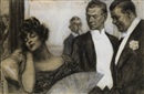William E. Hill, Society gents ogling reclining woman