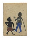 Bill Traylor, Woman and Man with an Umbrella