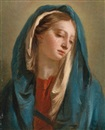 Giovanni Battista Tiepolo, The Madonna facing front and wearing a blue cloak