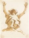 Giovanni Battista Tiepolo, Study of a figure with a turban and raised arms, seen from below