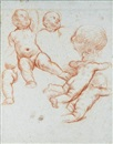 Carlo Maratta, A sheet of studies with putti: One with a separate study for his head and left leg, and a head seen in profile to the left