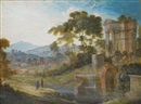 Pierre Antoine Patel, Two landscapes with classical ruins: A) with two figures conversing to the left; B) with boats drawn up to the shore (2 works)