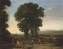 Claude Lorrain, An extensive landscape with figures dancing and others resting under a tree in the foreground, their cattle resting beyond