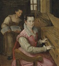 Studio Of Lavinia Fontana, Self-portrait at the keyboard with a maidservant