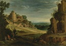 Paul Bril, Landscape with a hunting party and Roman ruins