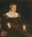 Attributed To Domenico Tintoretto, Portrait of a lady, three-quarter-length seated, holding a lute