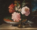 Italian School-Roman (18), Still life with a glass vase of flowers and a bowl of strawberries