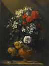 Jean-Michel Picart, Still life of flowers in a bronze vase