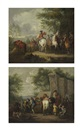 Pieter van Bloemen, Cavaliers setting off on a journey (+ A military blacksmith shoeing horses by a ruin; pair)