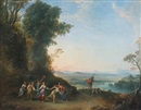 Italian School-Roman (18), A pastoral landscape with figures dancing in the foreground